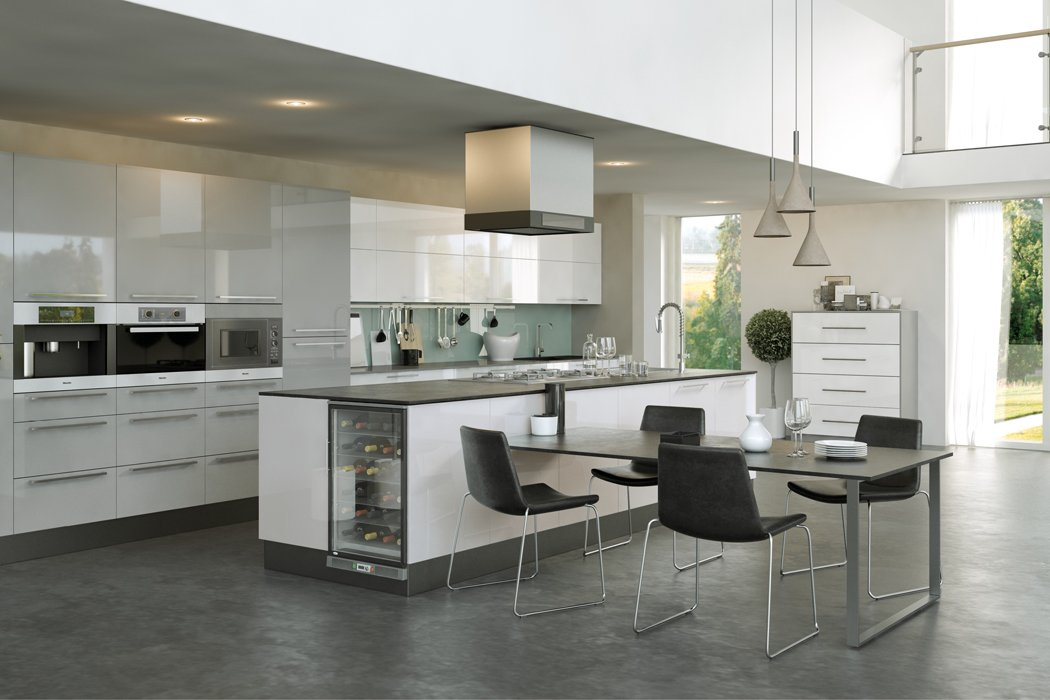 Pronto Firbeck Supergloss Light Grey Kitchen
