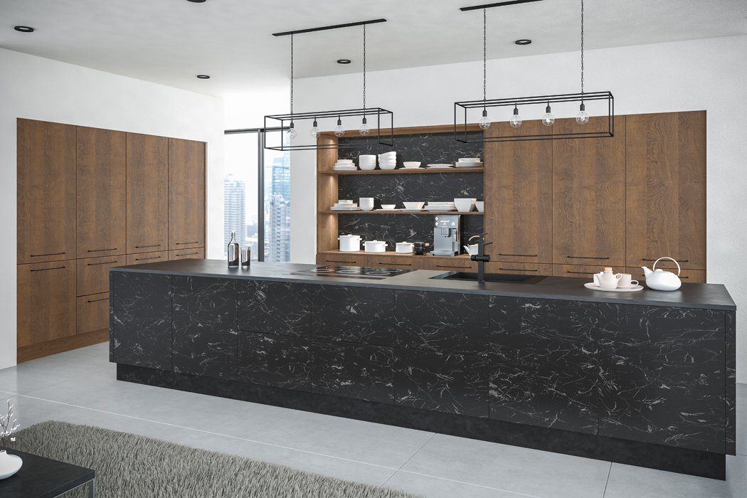 Zurfiz Oriental Black Gladstone Tobacco Oak Kitchen