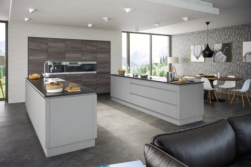 Pronto Rothwell Supermatt Light Grey Malton Lava Elm Kitchen