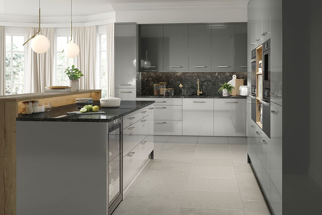 High Gloss Dust Grey Venice Kitchen