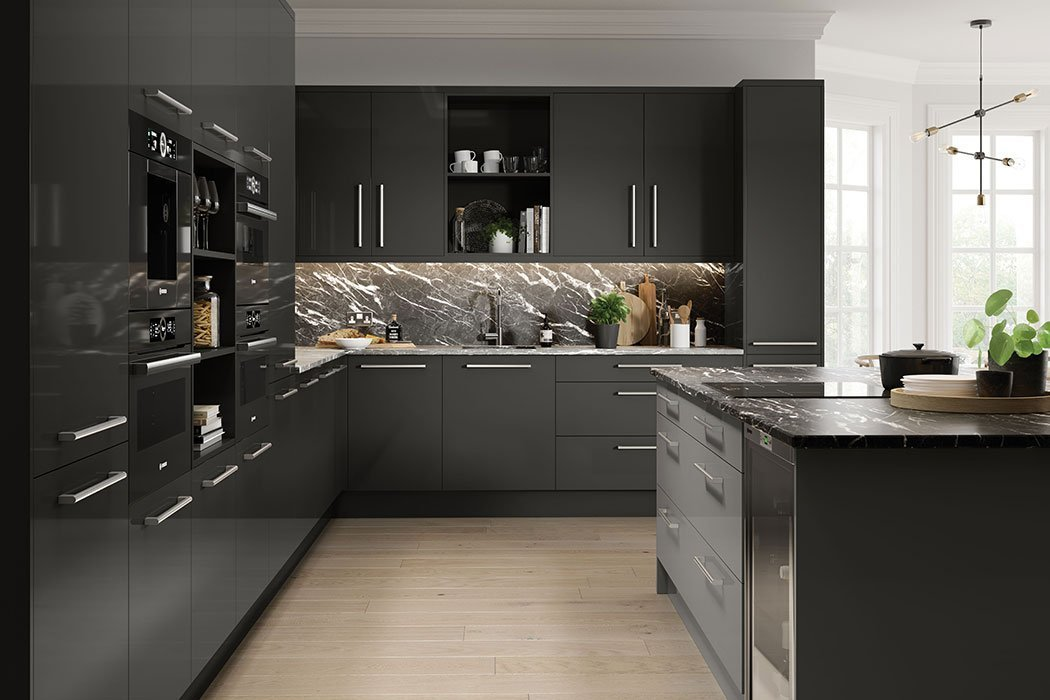 Pronto Firbeck Supergloss Graphite Kitchen