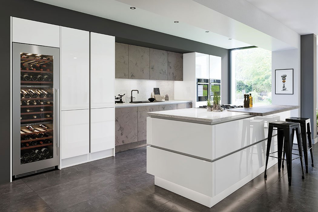 Zurfiz Ultragloss Glacier White Kitchen